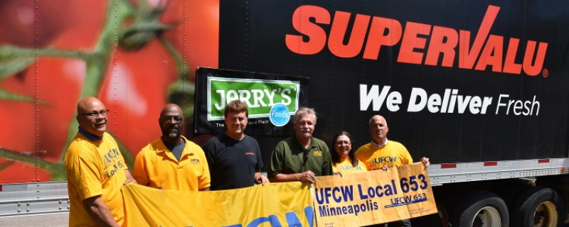 UFCW Local 653, Supervalu, & Jerry's Enterprises deliver truckload of food and supplies to tornado stricken JBS Swift plant workers in Marshalltown, Iowa
