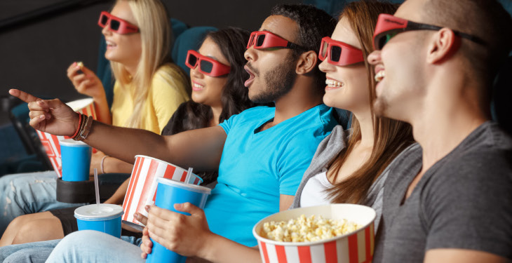 People wearing 3 D Glasses bought Tickets to Movie